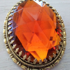 Jewelry - Large Vintage Amber Colored Glass Brooch Pin